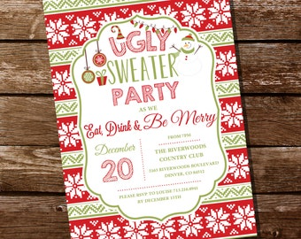 Ugly Sweater Christmas Party Invitation - Christmas Party - Instantly Downloadable and Editable File - Personalize at home with Adobe Reader