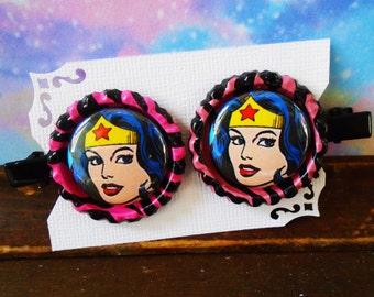 Wonder Woman comic book Hero WW Bottle cap HAIR CLIPS