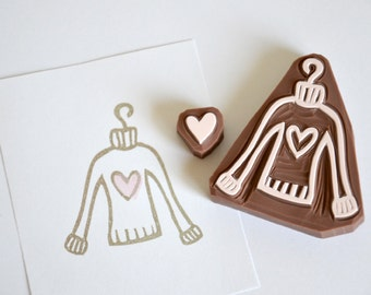 Hand Carved Rubber Stamp / Seweter