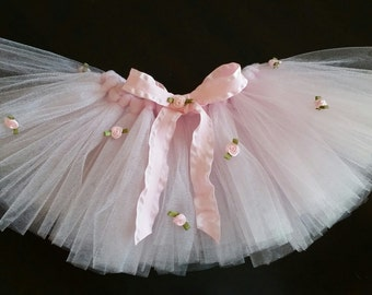 Baby Infant Girl Valentine's Day Birthday  Pink Tutu with Flowers
