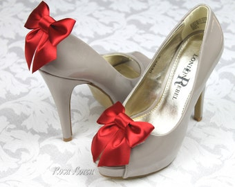 Red Valentine Shoe Clip, Valentine's Day Red Satin Bow Shoe Clips, Red Wedding Accessories Shoes Clip
