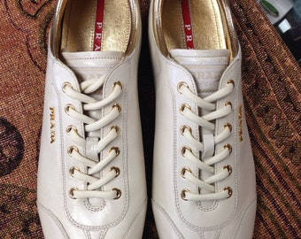 SALE! SALE! Cream and Gold Prada Shoes.