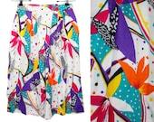 """10 Dollar Sale---Vintage 80's WORTHINGTON Colorful Floral High Waisted Skirt 25"""" Waist"""
