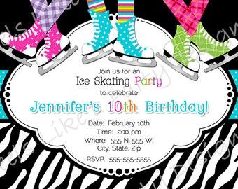 Custom Ice Skating Party Invite
