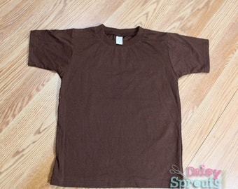 Sz 6 Brown Monag Interlock Organic Cotton Short Sleeved Shirt