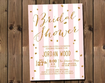 Glitter Bridal Shower Invitation Pink and Gold or Silver _1159B