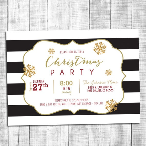 striped black and white party invitations