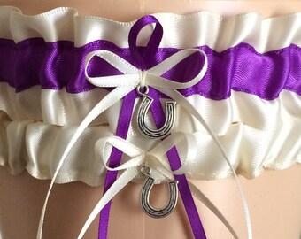 Wedding Garter, Bridal Garter Sets, Purple and Ivory Wedding Garter Set, Keepsake Garter,