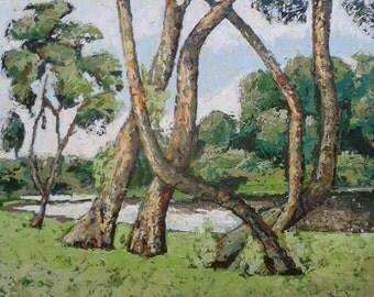 Trees. Large painting 120 x 160 cm acryl on canvas