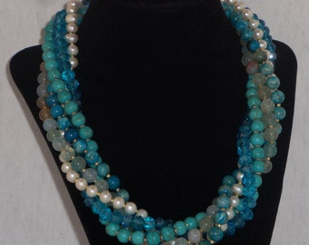Blue chunky multistrand statement necklace
