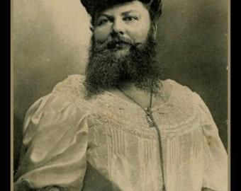Fridge Magnet image of vintage Bearded Lady circus side show freak