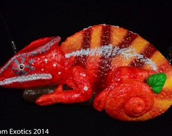 Resin Casted Panther Chameleon Pendant. Hand Painted