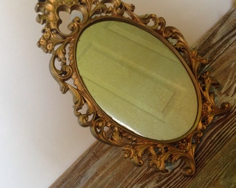 Popular items for stand up mirror on etsy for Gold stand up mirror