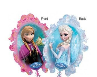 """Frozen Mylar Large Balloon 31"""" Two-Sided Balloon Princess Anna and Queen Elsa / Disney Frozen Party Olaf Kristoff Hans / Fast Shipping"""