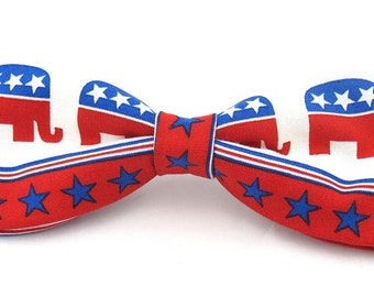 Men's Large Six Inch Republican Elephant Clip On Cotton Bow Tie Bowtie
