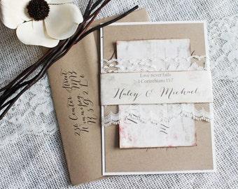Shabby Chic Wedding Invitation. Lace Wedding Invitation. Sample. Rustic Chic, Wedding Invitation. Wedding Stationary Custom Stationary
