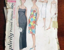 1960s Slip Sheath Dress Sleeveless Lingerie sewing pattern Simplicity 5729 Size 14 Bust 34""