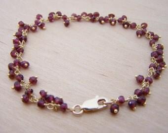 Garnet Gemstone 14k Yellow Gold Filled Wire Wrapped Bracelet - January Birthstone - Garnet Jewelry - Gift for Her