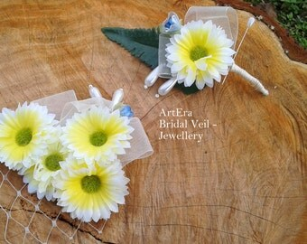 Rustic daisy vintage wedding accessories set, groom  Boutonniere  and  brides head piece, Barn wedding