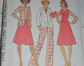 Simplicity 7377 Misses Unlined Jacket Vest Skirt and Pants in half sizes Sewing Pattern  - UNCUT Size 16 1/2 or Size 20 1/2