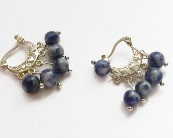 Blue earrings, sodalite lever arch earring, UK shop