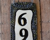 Modern black ceramic vertical hanging house number sign / address plaque. Modern house numbers for housewarming gifts or realtor gifts.