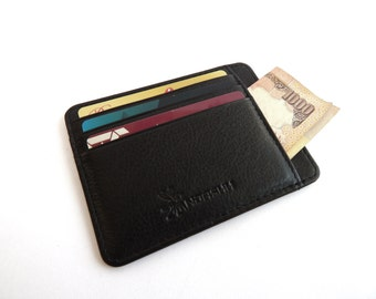 Personalized card holder leather credit card wallet, dad