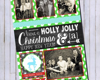 Photo Christmas Card | Chevron Chalkboard | Photo Holiday Card | Digital Christmas Card {P14}