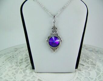 Heliotrope Crystal Necklace, Heliotrope Rivoli, Swarovski Crystal Heliotrope, Bezel Set Heliotrope, Deep Purple Crystal Necklace, Iridescent