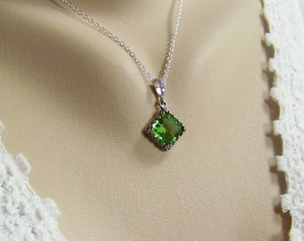 Peridot Crystal Necklace, Square Cut Peridot, Swarovski Crystal Peridot, August Birthstone Necklace, Bezel Set Peridot, Green Crystal