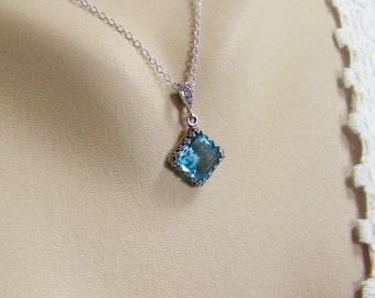 Aquamarine Necklace, March Birthstone, Square Aquamarine, Faceted Glass Aquamarine, Bezel Set Aquamarine, Aquamarine Pendant,Pale Blue Stone