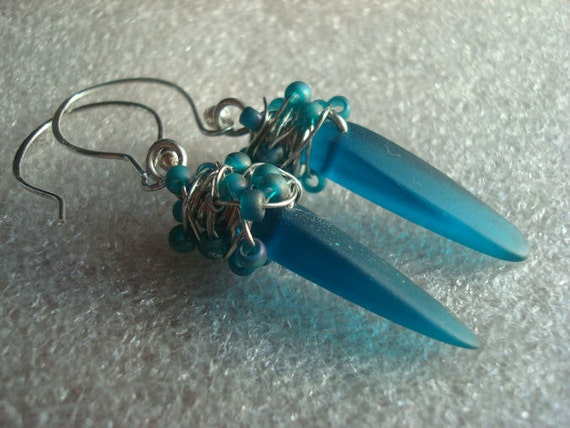 Peacock Blue Spike and seed bead earrings, blue earrings, blue sea glass earrings, sea glass earrings