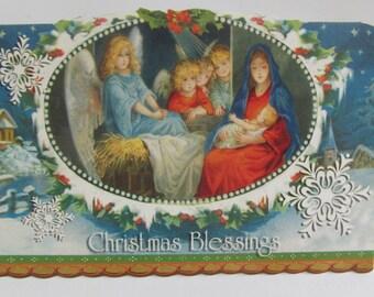 Baby Jesus in Manger Christmas Blessings Blank Christmas Card Vintage Xmas Card