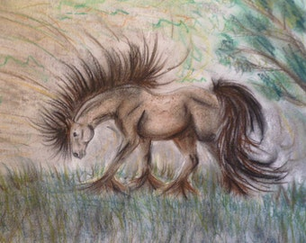 Horse in the Storm drawing by Laura Original Drawing Kids Art