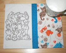 Stacked Cats Mug Rug 119