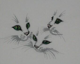 KITTEN TRIO-Green Eyes Embroidered Quilt Block