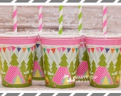Camping Birthday Party Cups-Popcorn Party Cups-Set of 8