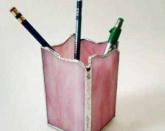 Pencil  Holder - Pen Holder - Stained Glass - Custom Made in Colors of your Choice - Desk Accessory - Office Decor -Desk Set