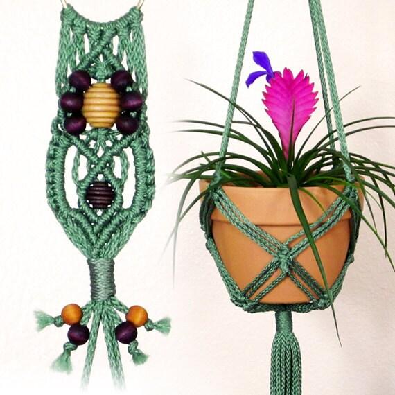 indoor macrame hanging planter 6 inch flower pot holder