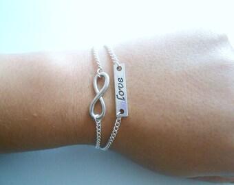 infini love bracelet - love infini bracelet - infinite love bracelet - silver love infinite bracelet- infinity love bracelet -
