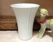 Milk glass fluted flower vase creamy white romantic cottage chic art nouveau farmhouse home decor