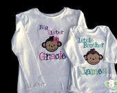 Big Sister Little Sister Little Brother Big Brother Embroidered Monkey Sibling Shirt Personalized Applique Sibling Shirt Set