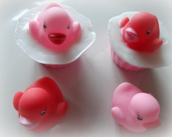 4 Love Birds Soap Set, Pink & Red Rubber Ducks Gift Set, Love, Valentine's Day, Special Occasions