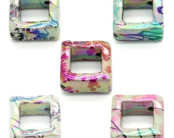 Acrylic Beads, Open Square Beads, Acrylic Drawbench Beads, 23mm, 10 Pieces
