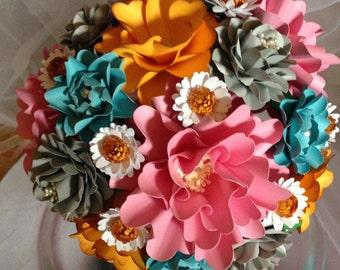 Wedding Bouquet, Paper Flower Bouquet, Bouquet, Yellow Pink and Blue