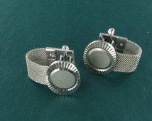 Vintage Silver tone Mesh Wrap Engravable Cuff Links Set