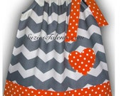 CLEARANCE - Personalized Pillow Case Dress, Chevron and Polka Dot - Toddler Girl Pillow Case Dress - Sweet Little Girls Pillow Case Dress.