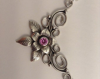 sterling silver flower necklace with faceted pink tourmaline