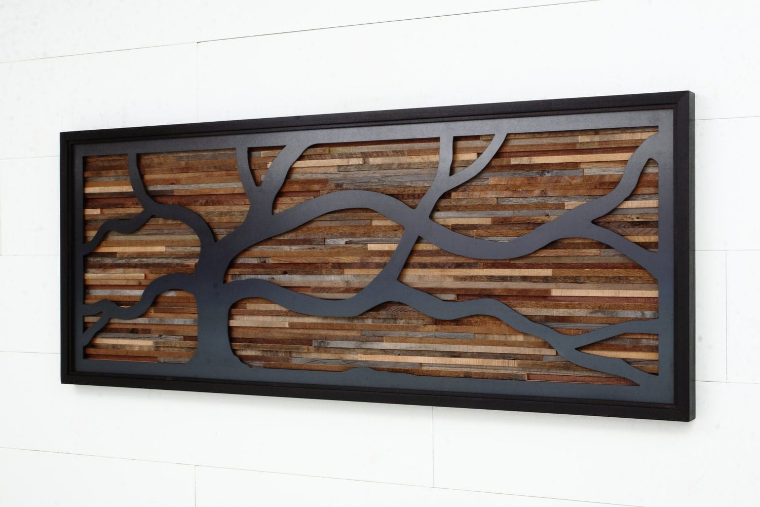 Wood wall art made of old reclaimed barnwood with a wind for Barnwood decor