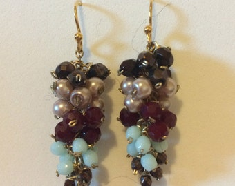 Multicolor Grape Earrings
